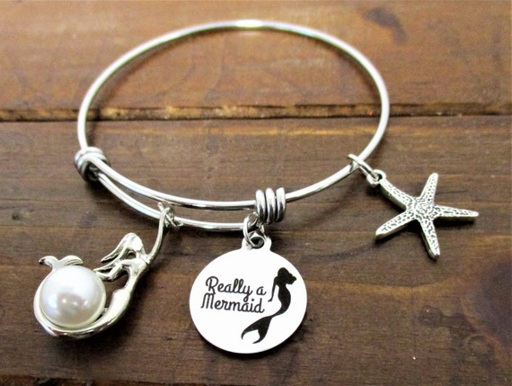 Mermaid Charm Bracelet, Starfish  Mermaid Charm, Beach Lover Gift, Mermaid Jewelry, Gift for Her, Mothers day Gift