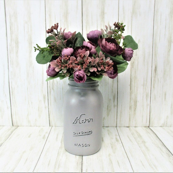 Lavender Purple Mason Jar Flower Centerpiece, Farmhouse Décor, Flower Arrangement, Country Décor