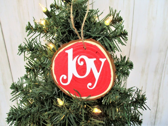 Joy Christmas Wood Slice Ornament, Country Christmas Ornament, Wood Décor, Rustic Christmas, Farmhouse Décor