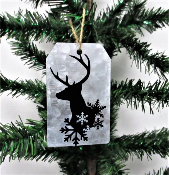 Deer Christmas Ornament, Galvanized Christmas Ornament, Christmas Tag Ornament, Farmhouse Christmas Ornament, Deer Head