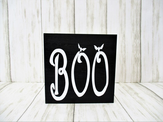 Halloween Boo Sign Decor, Tiered Shelf Sign, Halloween Decor, Mantle Decor, Holiday Decor, Boo Decor