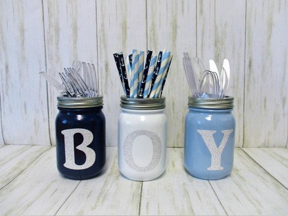 Baby Boy Shower Centerpiece Decor, Baby Shower Decor, Party Decorations, Utensil Holder, Centerpiece, Mason Jar Decor