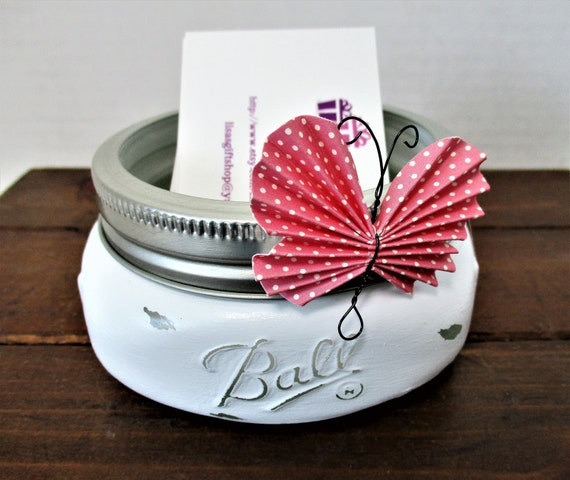 Business Card Holder, Mason Jar Decor, Desk Decor, Shabby Chic Decor, Lipstick Holder, Desk Accessory, Vanity Decor, Bathroom Decor, Pink