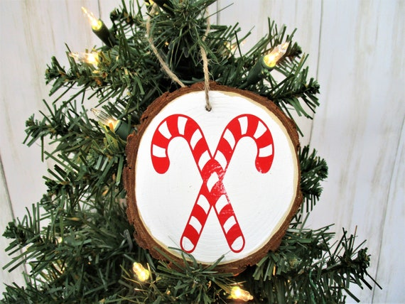 Candy Cane Christmas Wood Slice Ornament, Country Christmas Ornament, Wood Décor, Rustic Christmas, Farmhouse Décor