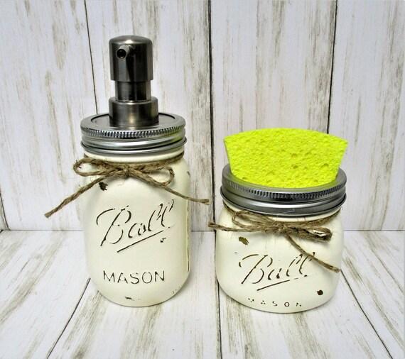 Mason Jar Kitchen Set, Soap Dispenser, Sponge Holder, Rustic Kitchen, Farmhouse Decor, Rustic Decor, Country Kitchen