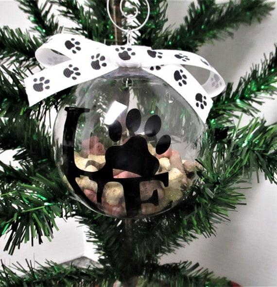 Dog Christmas Ornament, Dog Bone Paw Ornament, Love My Dog