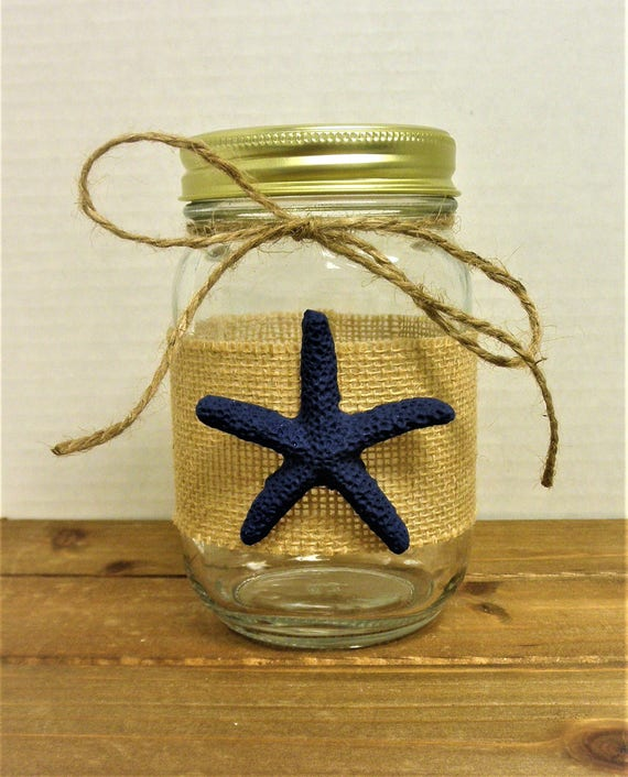Starfish Mason Jar, Starfish Decor, Beach Decor, Tropical Decor, Beach Wedding, Bathroom Decor, Utensil Holder, Party Decor