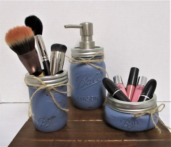 Mason Jar Bathroom Set, Rustic Bathroom, Farmhouse Bathroom, Vanity Set, Farmhouse Decor, Bathroom Set, Bathroom Jars, Bathroom Organization