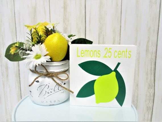 Lemon Shelf Sitter  Sign Decor, Tiered Shelf Sign, Lemon Decor