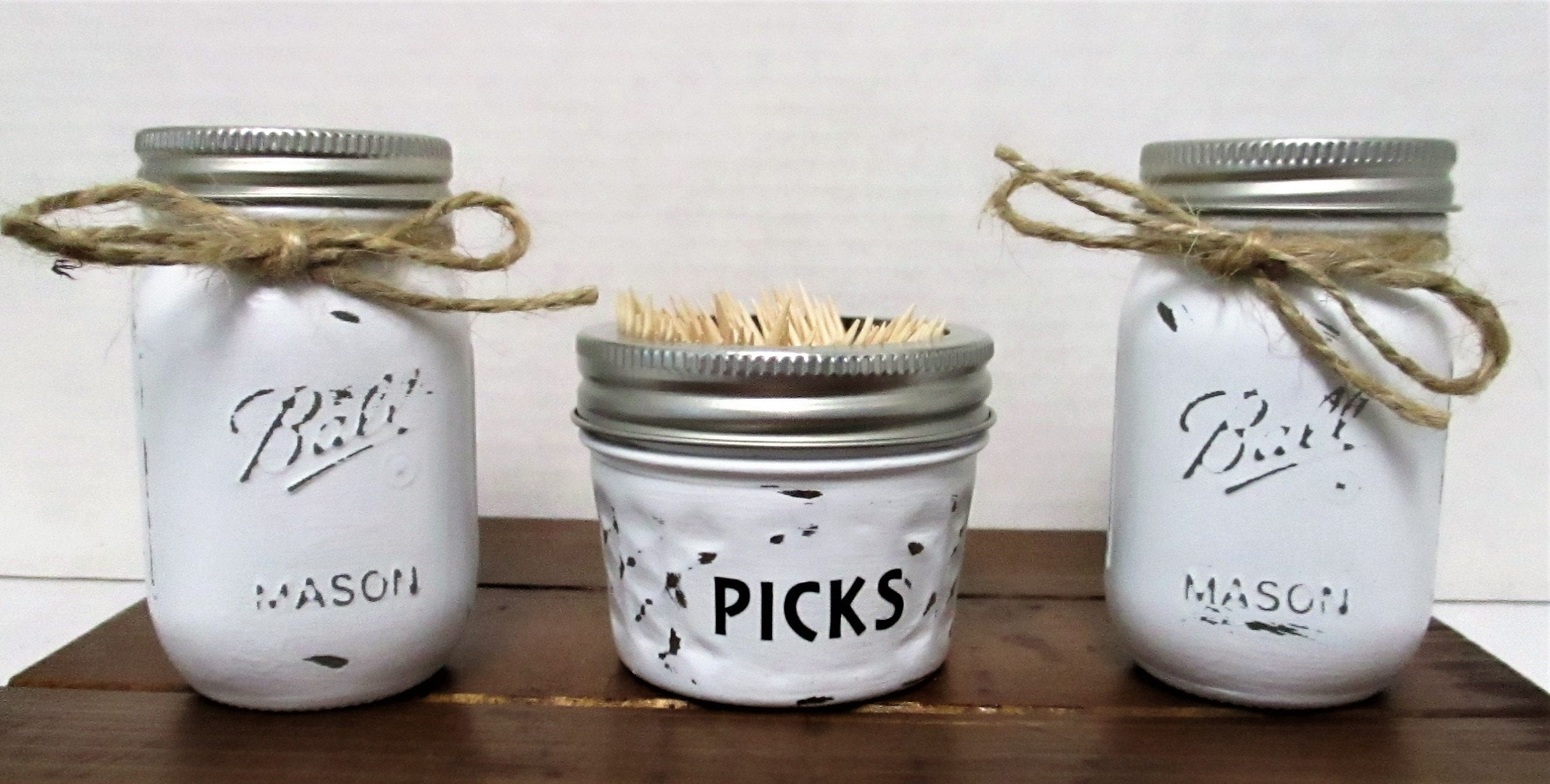 Mason Jar Salt and Pepper Shakers, Toothpick Holder, Kitchen Decor ...