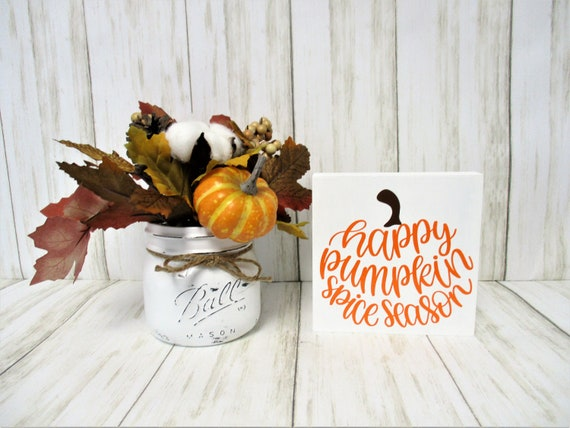 Pumpkin Spice Fall Shelf Sitter Sign, Tiered Shelf Sign, Fall Decor, Mantle Decor, Holiday Decor, Pumpkin Spice Decor