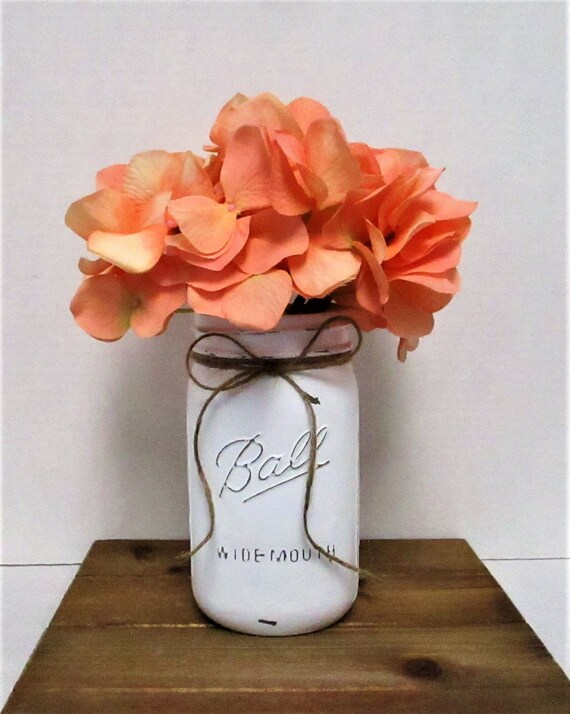 White Mason Jar Decor, Mason Jar Centerpiece, Spring Decor, Wedding Decor, Country Chic, Baby Shower, Farmhouse Decor, Easter Decor