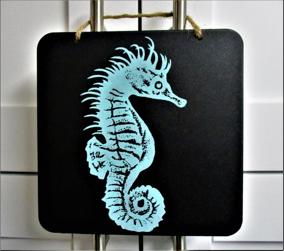 Seahorse Beach Sign, Chalkboard Sign, Beach Decor, House Warming Gift, Kitchen Decor, Beach House Decor, Seahorse Lover