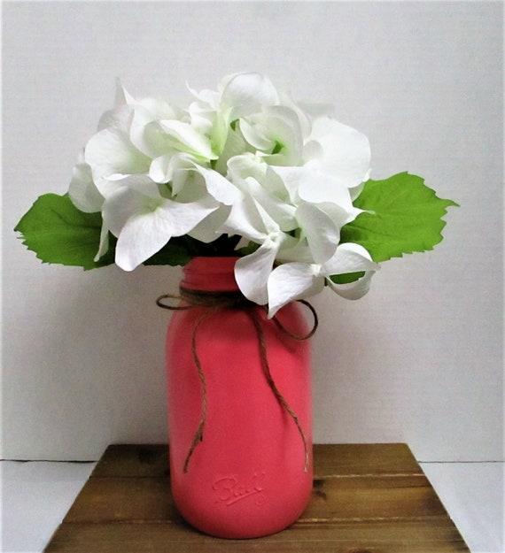 Mason Jar Centerpiece, Floral Arrangement, Wedding Decor, Home Decor, Baby Shower, Bridal Shower, Flamingo Pink Decor, Mothers Day Gift