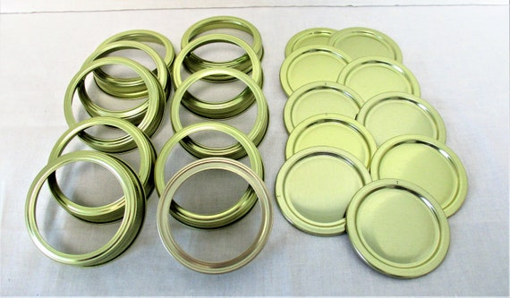 Mason Jar Lids with Bands, Gold Mason Jar Lids, Canning Lids and Bands