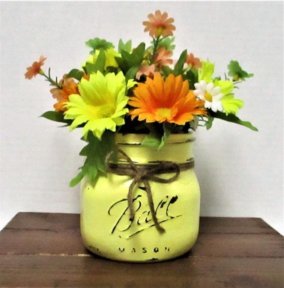 Mason Jar Centerpiece, Flower Arrangement, Country Chic, Home Decor, Shabby Chic, Spring Decor, Spring Flowers, Farm House Decor