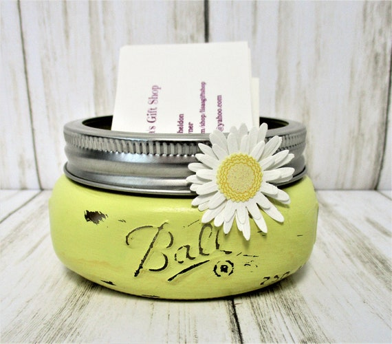 Business Card Holder, Mason Jar Decor, Desk Decor, Shabby Chic Decor, Lipstick Holder, Desk Accessory, Vanity Decor, Bathroom Decor, Yellow