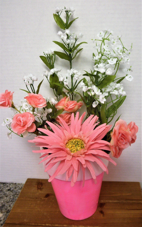 Handpainted Clay Pot Flower Arrangement Home Decor Spring