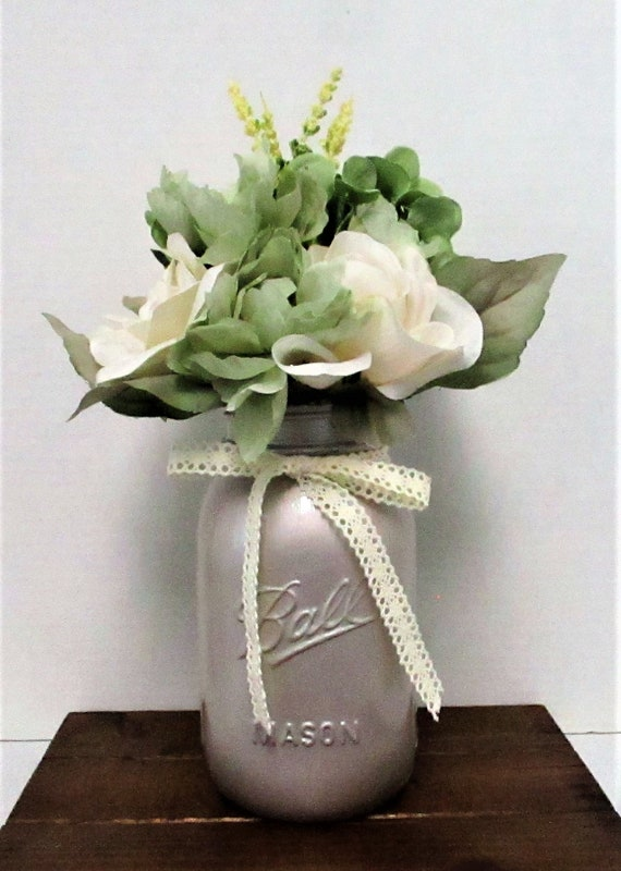 Flower Centerpiece, Mason Jar Decor, Centerpiece, Flower Arrangement, Wedding Decor, Shabby Chic, Metallic Champagne Decor, Mothers Day Gift