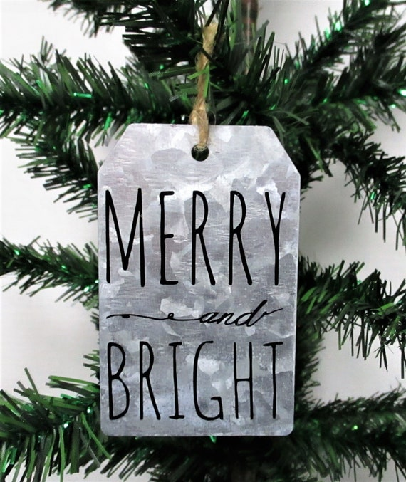 Christmas Done Bright.Merry And Bright Christmas Ornament Galvanized Christmas Ornament Christmas Tag Ornament Farmhouse Christmas Ornament