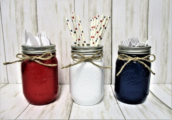 4th of July Mason Jars, Utensil Holder, July 4th Decor, Centerpiece, Patriotic Mason Jars,  Fourth Of July, Party Decor, Memorial Day Decor