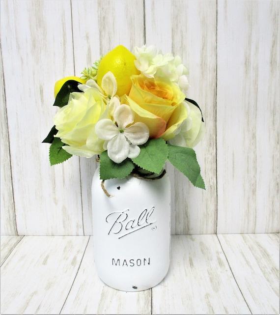 Lemon Decor Mason Jar Centerpiece, Yellow Flowers, Lemons, Farmhouse Decor, Country Decor, Country Chic Decor, Farmhouse Decor