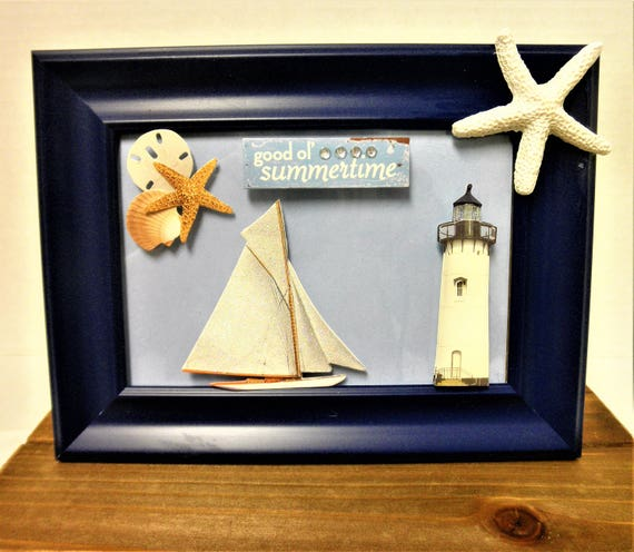 Sailboat Lighthouse Picture Decor / Sailboat Decor / Lighthouse Decor / Beach Wall Hanging / Home Decor / Beach Decor / Beach House Decor