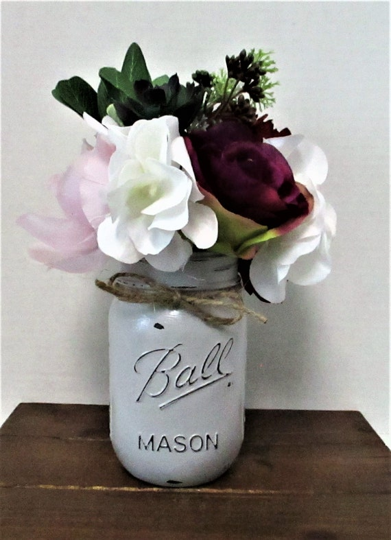 Mason Jar Centerpiece, Country Chic, Shabby Chic, Wedding Decor, Home Decor, Rustic Decor, Farmhouse Decor, Grey Decor, Mothers Day Gift