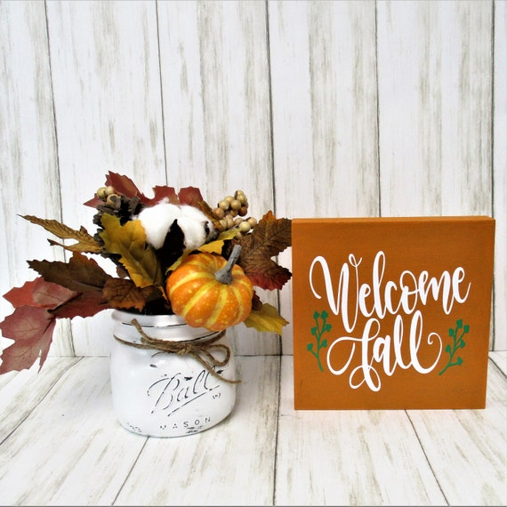 Welcome Fall Sign Decor, Tiered Shelf Sign, Fall Decor, Mantle Decor, Holiday Decor