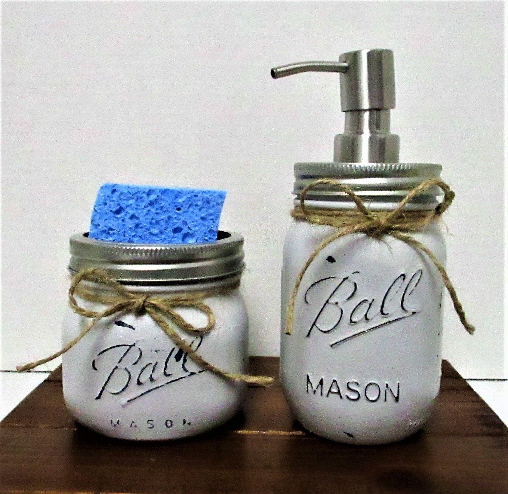 Mason Jar Kitchen Decor Set: Mason Jar Kitchen Set, Soap Dispenser, Sponge Holder