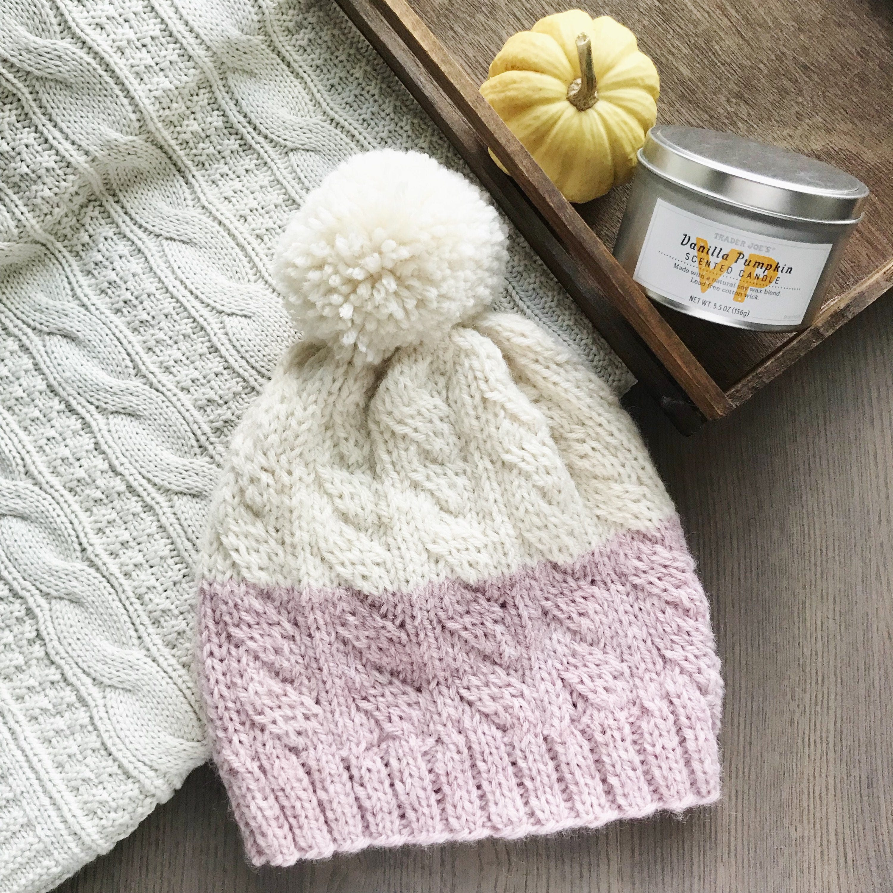 ecebb82b26b Pink and cream colorblock knit cabled hat