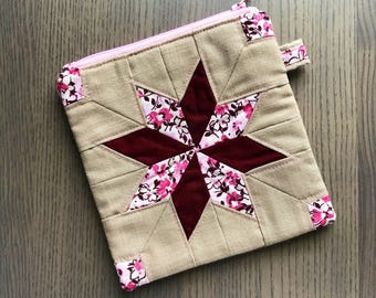 Pink and maroon scrappy patchwork star quilted zipper pouch
