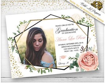 boho graduation party invitation bohemian floral floral etsy