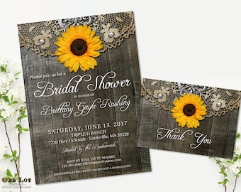 Sunflower Bridal Shower Invitation Set Rustic Invite Country Wedding Barn Wood Lace Printable