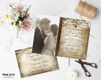 old world wedding invitation travel wedding invites old world romantic vintage photo wedding invite rsvp printable wedding twinkle lights