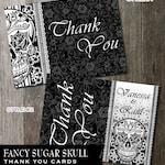 Printable Thank You Card Template, DIY Black And White Fancy Sugar Skull Day of the Dead, Dia De Los Muertos, Choose a layout, Wedding DIY