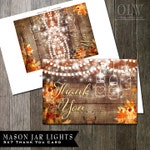 Mason Jar Thank You Card, Printable Thank You Greeting, Rustic Fall Leaves Thank You card, Wood Plank and Autumn Leaves, DIY Folded Card