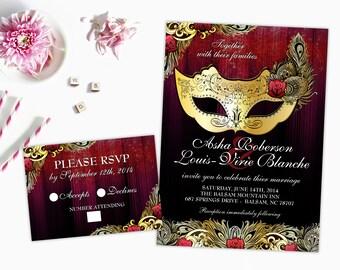 masquerade wedding invitation mardi gras wedding printable invites gold and red mask elegant masquerade ball wedding carnival diy