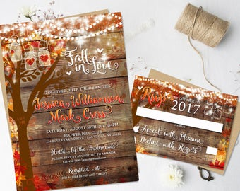Exceptional Rustic Fall Wedding Invitations Heart Carved Oak Tree Autumn Wedding  Stationery Digital Printable Rustic Hanging Lights Mason Jar Lights DIY
