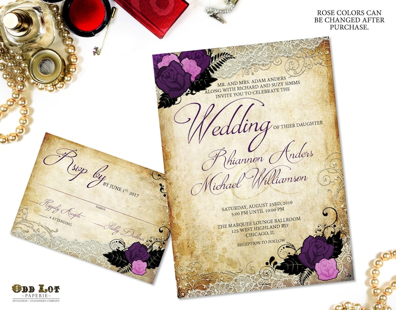Gothic Wedding Invitations Rose And Vintage Lace Offbeat Etsy