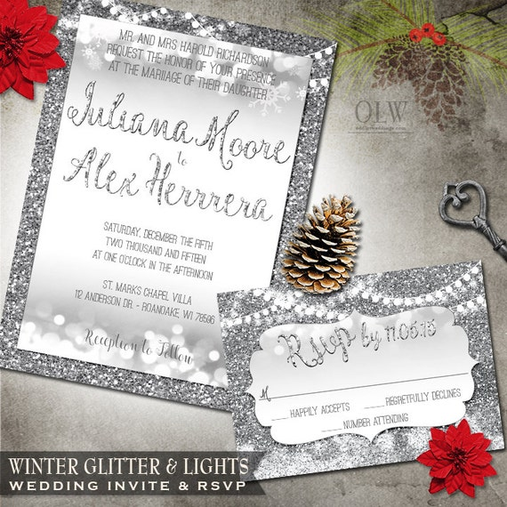 Winter Wedding Invite Silver Snow Glitter And Hanging Lights