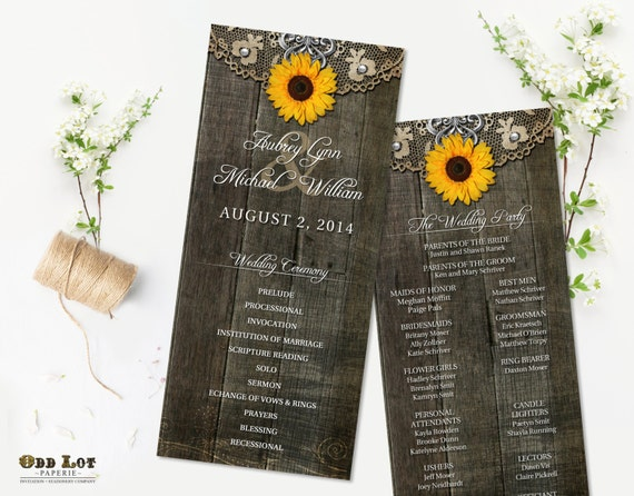 rustic sunflower wedding programs rustic ceremony program etsy