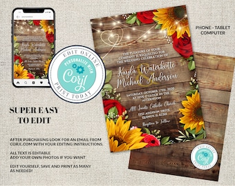 Sunflower and Roses Wedding Invitation, Rustic Wedding, Red Roses, Editable  Sunflower Invitation Digital, Corjl INSTANT DOWNLOAD, diY