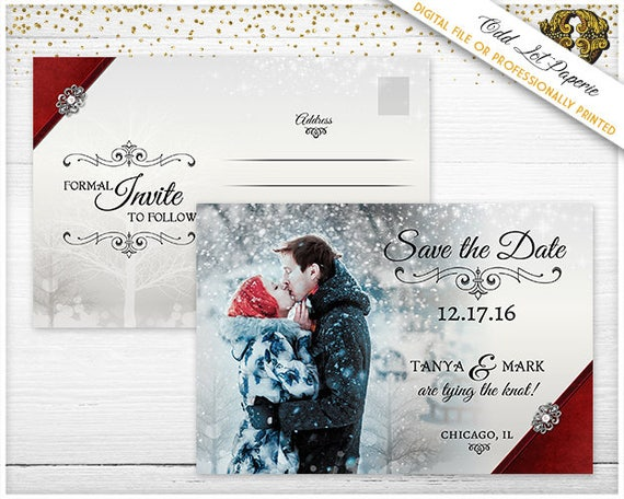 Wedding Digital File sent to your email or Professionally Printed Engagement Save the Date Invitations