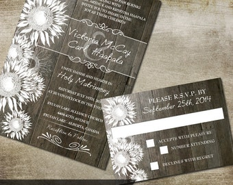 Rustic Sunflower Wedding Invitation and RSVP  DIY printable rustic wedding stationery Country Rustic Wedding Sunflower Wedding