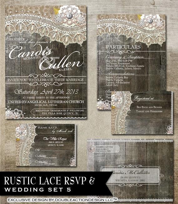 Gift Registry Cards In Wedding Invitations: Rustic Lace Wedding Package RSVP Invitation Gift Registry