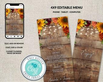 Wedding Cards, Weddng Menu, Printable Menu,  Rustic Fall Sunflowers Roses Menu Tempalte, Dinner Menu, Edit in Corjl, Customizable
