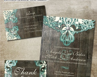 Rustic Lace Wedding Invitation and RSVP, etc - Digital Printables. Burlap, lace, wood and vintage elements for that rustic country wedding.