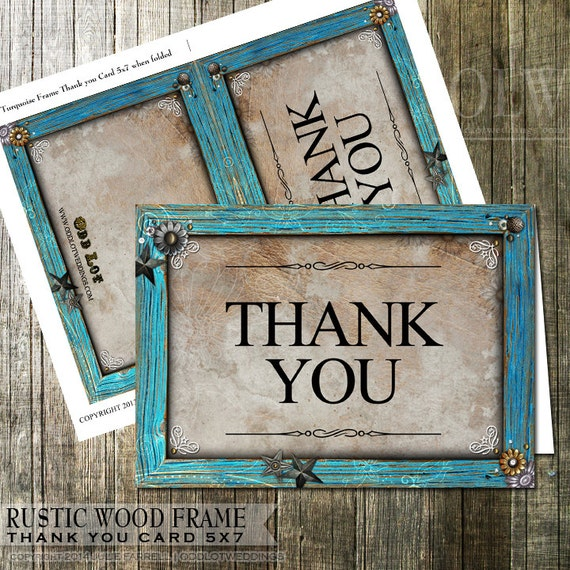 Turquoise Frame Thank You Card Rustic Thank You With Star