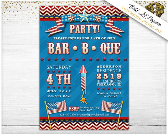 4th of July Invitations - PRINTABLE Invitation - Fourth of July BBQ Invitation - Patriotic July Fourth Invite - Independence Day Cookout